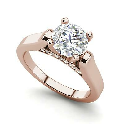 Cathedral Solitaire 3.1 Ct VS2/D Round Cut Diamond Engagement Ring Rose Gold