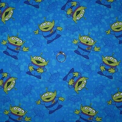 BonEful FABRIC FQ Cotton Quilt Blue Alien Toy Story Movie Disney Space Monster S