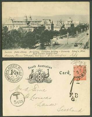 Australia QV 1d 1904 Old Postcard Adelaide, Institute Library University Terrace