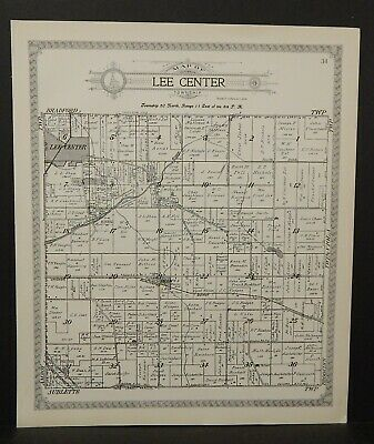 Illinois Lee County Map Lee Center Township 1921 J25#63