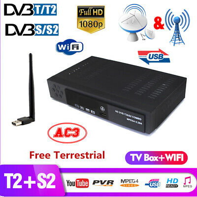 DVB T2+DVB-S2 Digital Satellite Receiver Full HD 1080P FTA Decoder+WIFI Youtube