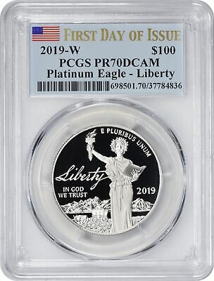 2019-W $100 American Platinum Eagle - Liberty PR70DCAM PCGS First Day Issue FDOI
