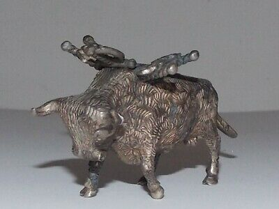 Antique Miniature Silver Bull Figurine With Cocktail Sword-Tested .800 Silver
