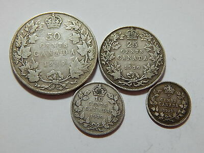 1919 Canada Sterling Silver 5,10,25,50 Cent Coin Lot - .6217 Troy Oz ASW
