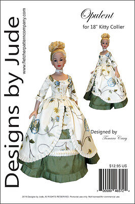 "Opulent Doll Clothes Sewing Pattern for 18"" Kitty Collier Dolls Tonner"