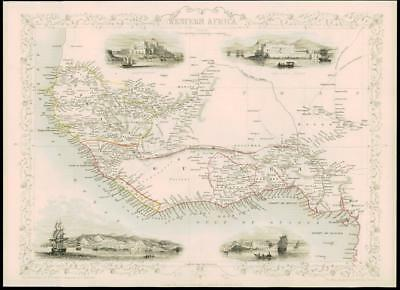 """1850 """"WESTERN AFRICA"""" Antique Map by Tallis with Vignettes Sierra Leone (7d)"""