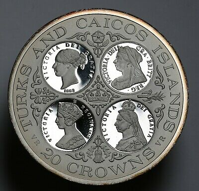 1977 Turks & Caicos Islands Proof 20 Crown Queen Victoria Low Mintage 1943
