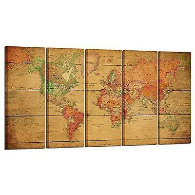 Kreative Arts Large 5 Panel Vintage Map of The World Canvas Prints Wall A... New