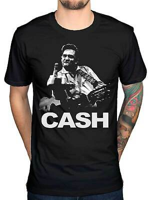T-shirt Johnny Cash Middle Finger T-Shirt Heavy Metal Rock Band, Size M-3XL