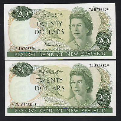 NEW ZEALAND P-167d. (1977-81) $20 STAR Note. YJ Prefix. UNC - CONSECUTIVE Pair