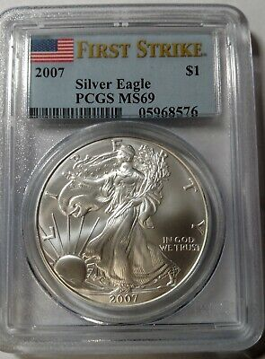 2007 PCGS MS69 $1 Silver American Eagle First Strike Flag Holder