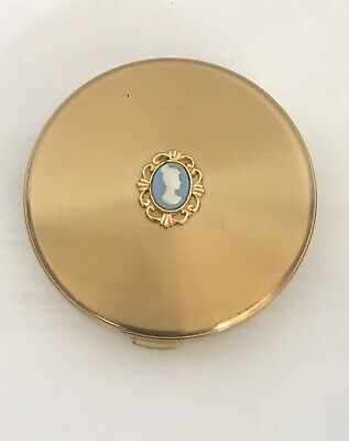 Vintage Made In England Cameo Powder Compact Stratton