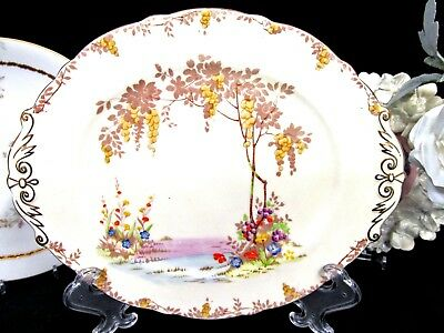 Star PARAGON MERRIVALE cream yellow painted floral lake tree pattern platter