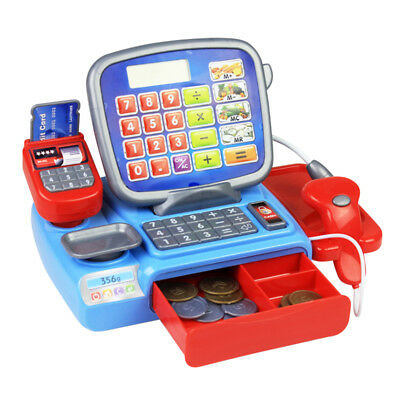 Kids Electric Cash Register Calculator Toys Pretend Cashier Learning Play Toy AU