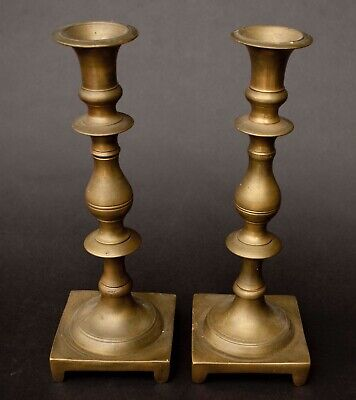 "Pair of Antique Early Solid Brass 10"" Shabbat  Candlesticks"