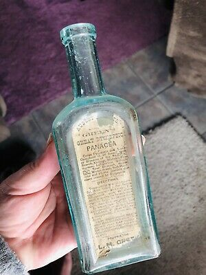 1800S Greens Great Dyspeptic Panacea Cure Quack Nostrum Label Bottle