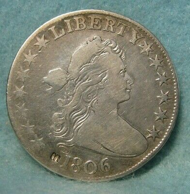 1806 DRAPED BUST SILVER HALF DOLLAR FINE Details * US Coin