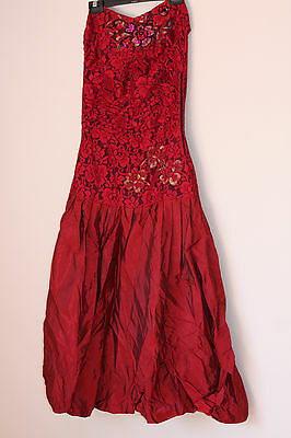 Vintage Glam Scarlet Bubble Lace Beaded Sequin Party Cocktail Dress 6