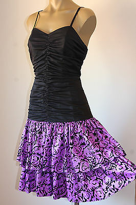 Vintage French Ruch'd Velvet Scroll Ruffle Cocktail Party Dress 12