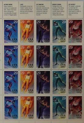 Us Scott 2811 Pane Of 20 Winter Olympic Stamps 29 Cent Face  Mnh