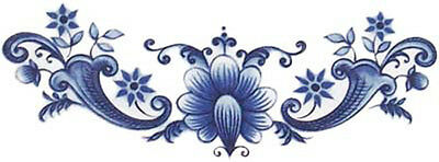 VinTaGe IMaGe BLuE DeLfT FLoRaL SWaGs ShaBby WaTerSLiDe DeCALs ~FuRNiTuRe SiZe~