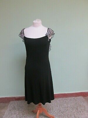 Versace Black Strappy Short Dress with Frilled Floral Straps Sz 10 -12 UK