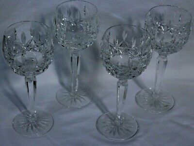4 Waterford Crystal Glass Lismore Wine Hock Balloon Goblet Glasses Signed MINT