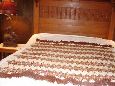 Vintage Hand Crafted Swedish Weaving Afghan Throw Blanket  Rug ~ months to make