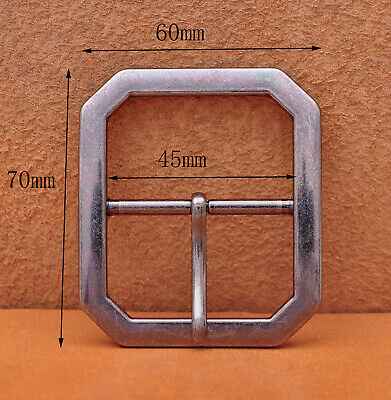 Mens Rectangle Heavy Duty Strong Retro Center Bar Pin Belt Buckle Fit 45mm Strap