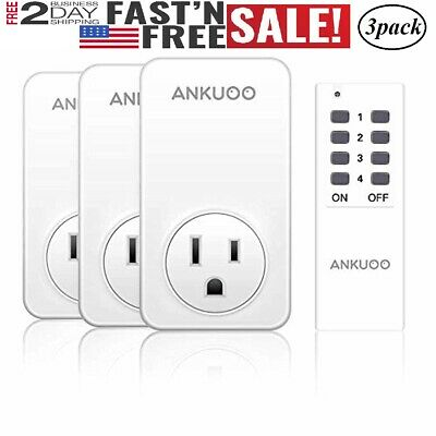 3 Pack Wireless  Remote Control Outlet Light Switch Power Plug 1 remote