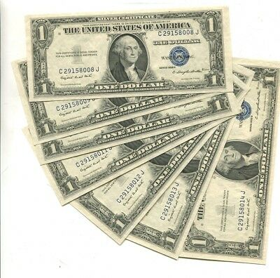 1935 G  $1 Silver Certificate Currency Note Lot Of 7 Consecutive  Cu 7288L