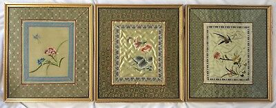 Set of Three 3 Framed Chinese Silk Embroidered Pictures Flower Bird Butterfly