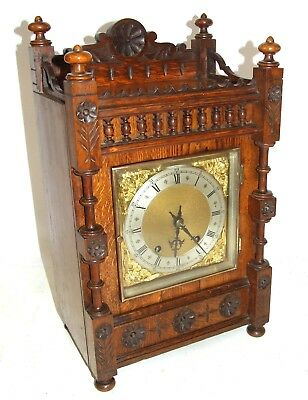WINTERHALDER HOFFMEIER W & H Antique Oak TING TANG Bracket Mantel Clock SERVICED