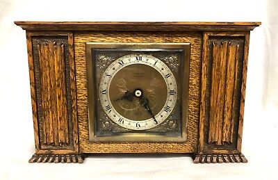 ELLIOTT LONDON Carved Oak Bracket Mantel Clock  retailed by FLINN & CO COVENTRY