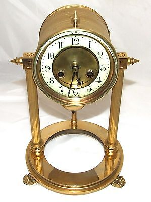 French Antique VINCENTI & CIE Drum Head Brass Striking Bracket Mantel Clock