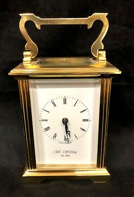 English Brass Carriage Clock with Bevelled Glass & Winding Key : Wm WIDDOP