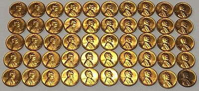 Bu 1960 D Lincoln Penny Roll 50 Coins * Free Ship