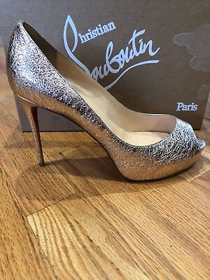 size 40 22302 3133a NIB CHRISTIAN LOUBOUTIN New Very Prive 100 Rose Gold Peep Platform Heel  Pump 39