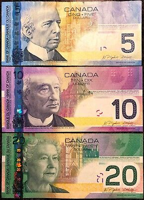 Lot of 3x 2004 - 2006 Canada $5, $10, $20 Banknotes - Lightly Circulated