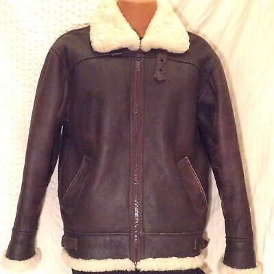 Wilsons Adventure Bound Leather Shearling Bomber Jacket Mens Small