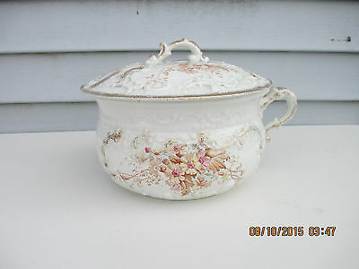 W H Grindley Porcelain China Chamber Pot Commode Slop Jar Transferware Floral
