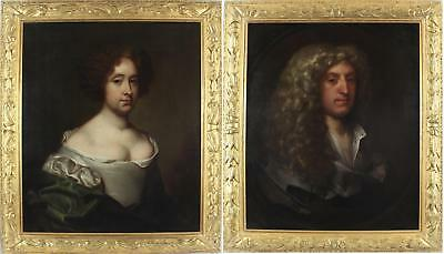 Gerard Soest Fine Pair Antique 17thC Old Master Large Oil Painting Portrait