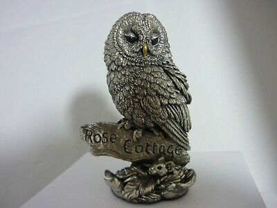 Large Rare Sterling Silver Owl Rose Cottage Dormouse By Langford Country Artists