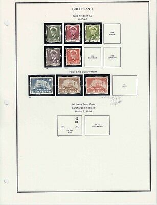 Greenland 7 Intact Album Pages In Mounts $80 Scv 1St Page Most Mint Original Gum