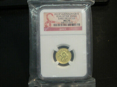 2013-P Australia 15 Dollars 1/10 oz Gold Year of the Snake NGC MS70 EARLY