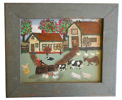 ** AAFA Antique Folk Art Naive Country Primitive Painting Farm **