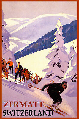 Ski Zermatt Switzerland Alps Downhill Skiing Winter Sport Vintage Poster Repro