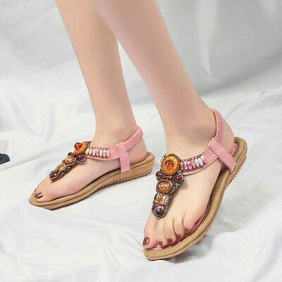 ddd1ad292b7d Women s Summer Sandals Leather Flip Flop Shoes Boho Rhinestone Beach Flat  Shoes