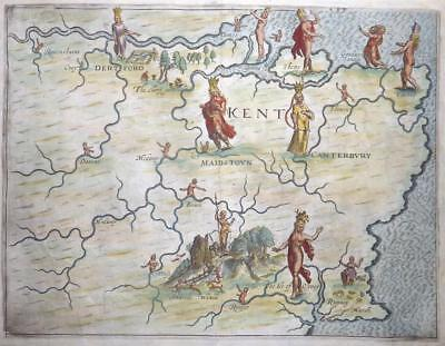 1622 - Original Antique Map of KENT by Michael Drayton for Poly-olbion RARE (LM4
