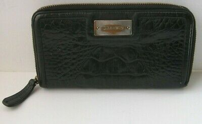 f2c957dc14a0 LARGE ZIP AROUND Wallet Black Croc Embossed Lily & Ivy Faux Leather ...